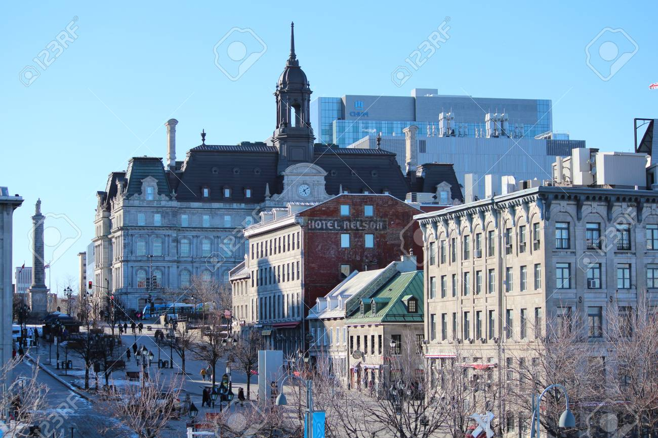 City Landscape Of The Old Port Of Montreal. A View Of The Walking ...