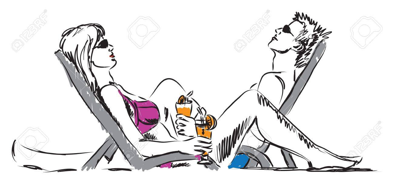 couple man and woman resting at beach with drinks illustration Stock Vector - 19840899