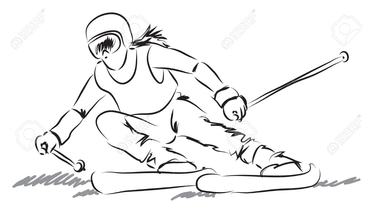 woman with ski equipment illustration Stock Vector - 19840905