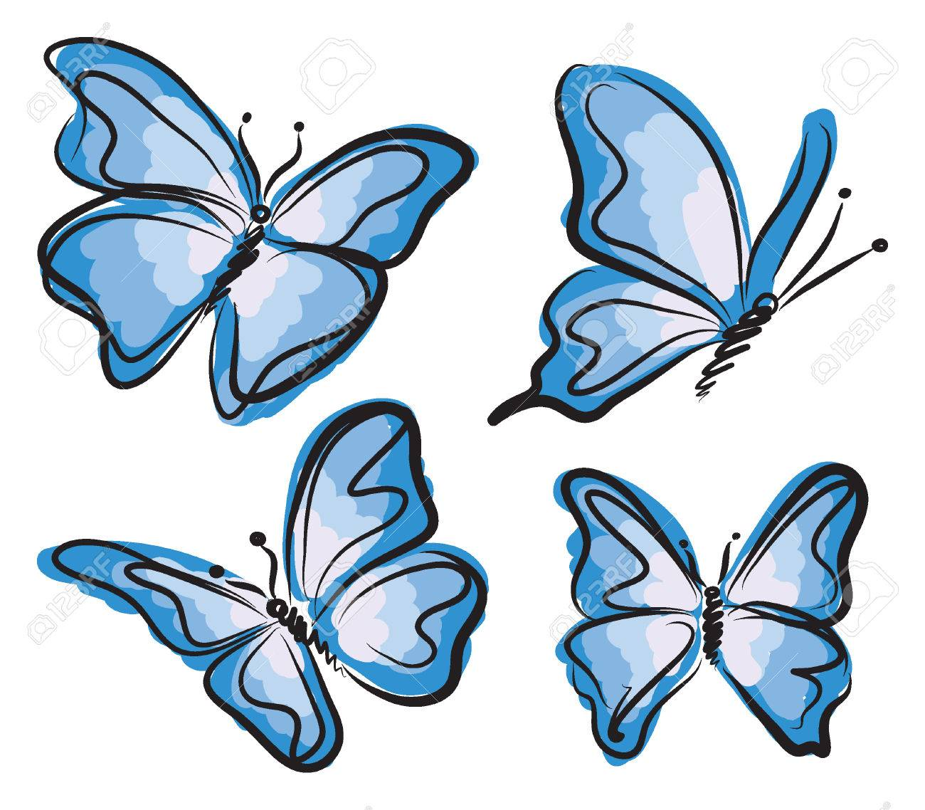 blue butterfly illustration royalty free cliparts vectors and