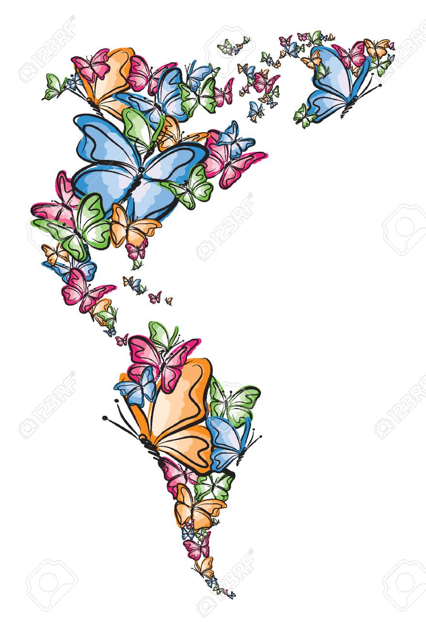 north and south america world map silhouette made of butterfly