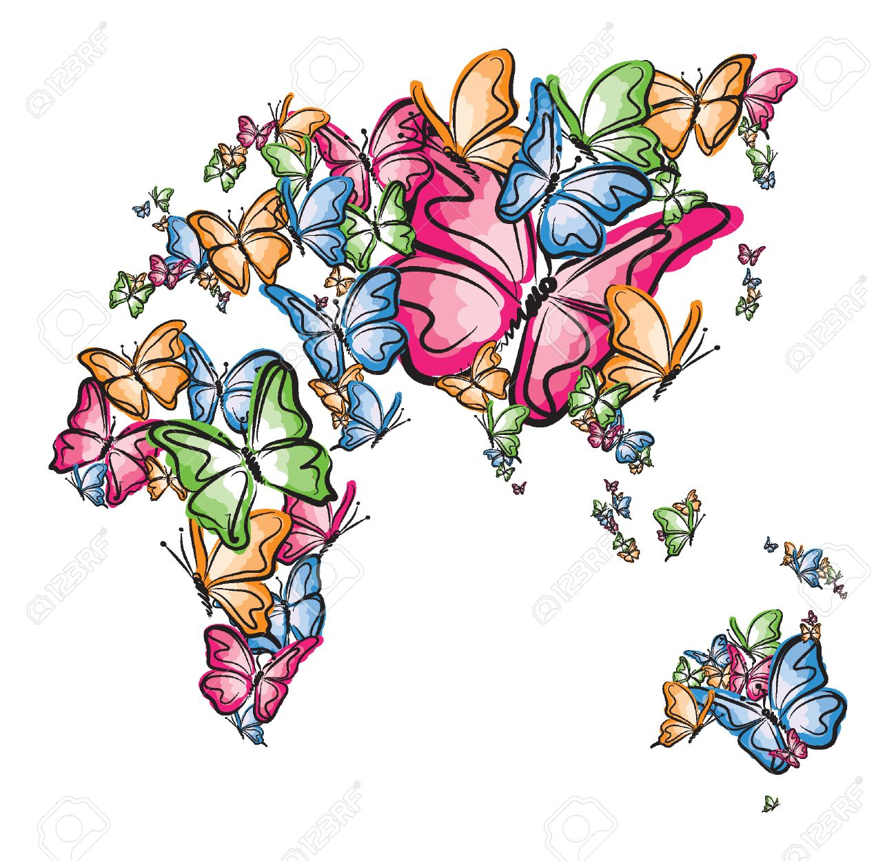 Europe asia africa and australia world map silhouette made of europe asia africa and australia world map silhouette made of butterfly illustration stock vector 30219673 gumiabroncs Image collections