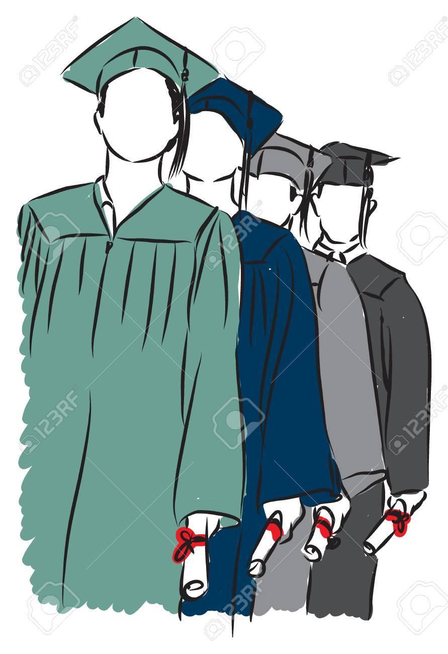 students graduating illustration - 32750774