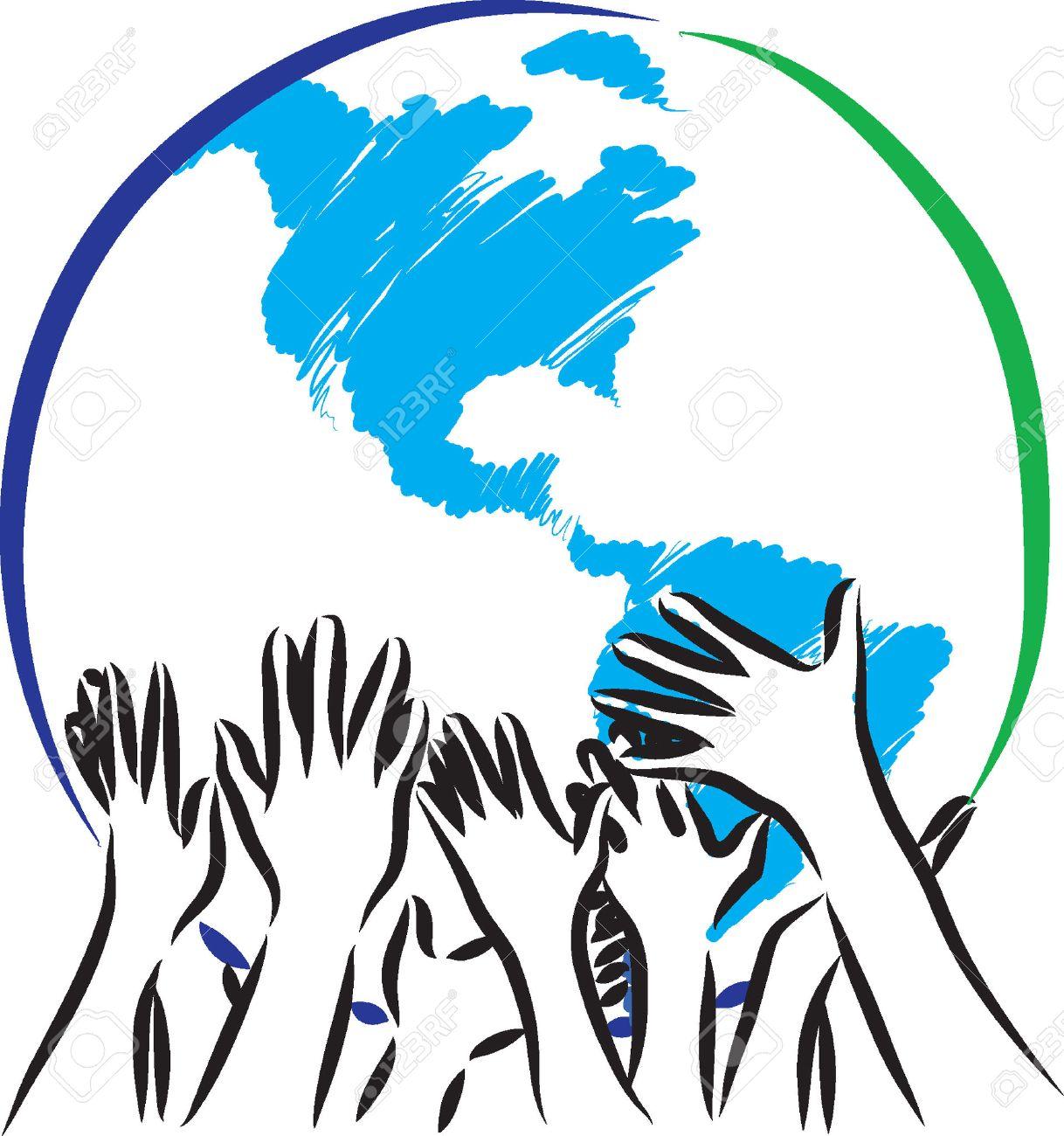 earth taking care hands illustration - 37237836