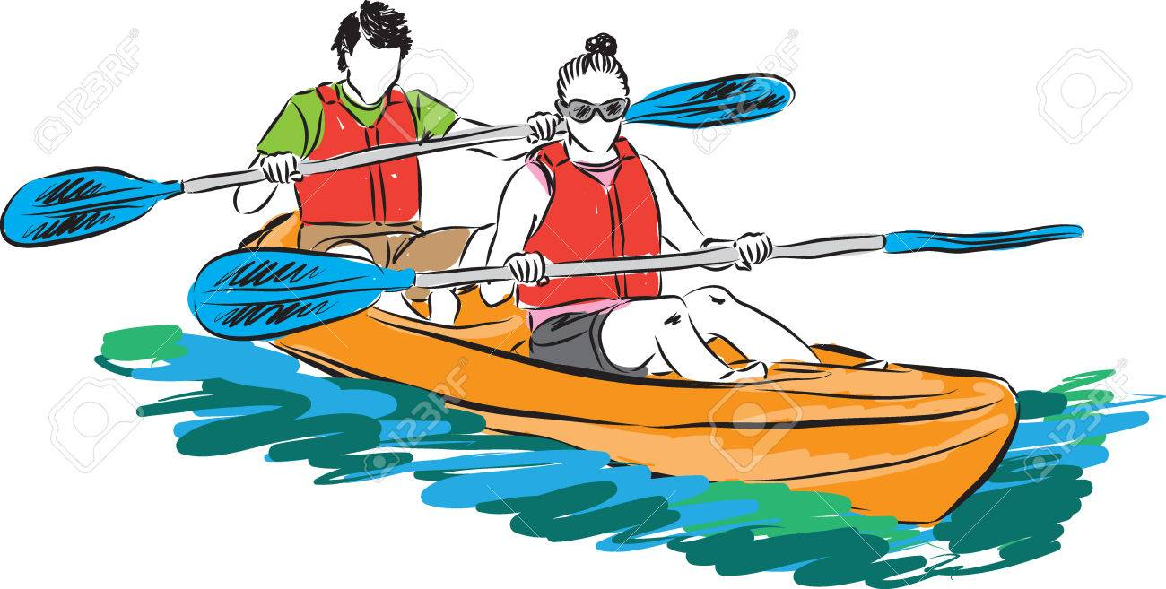 couple man and woman in kayak illustration - 52686261