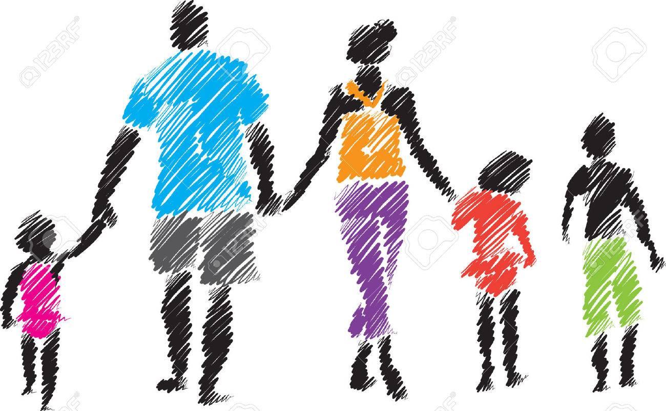 family brush style illustration - 55785508