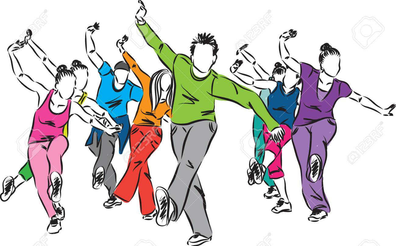 Group Of Dancers Fitness Illustration Royalty Free Cliparts Vectors And Stock Illustration Image 56298780