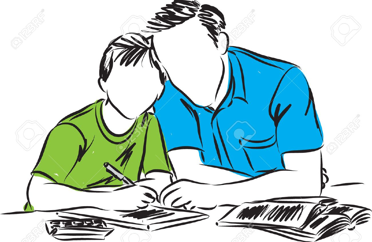 father and son doing homework illustration - 57155708