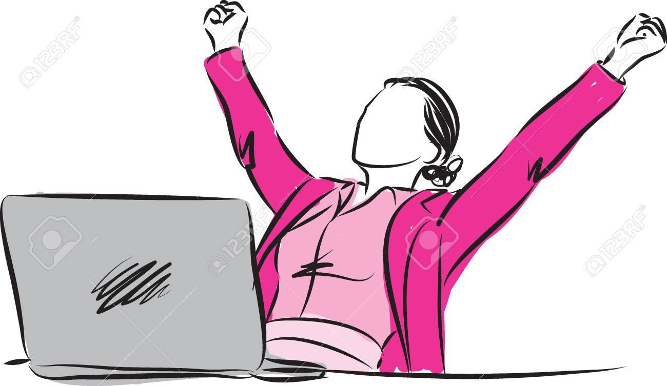 successful businesswoman winner gesture illustration - 58992715