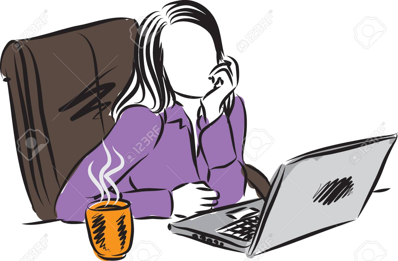 woman working at computer illustration - 64895724