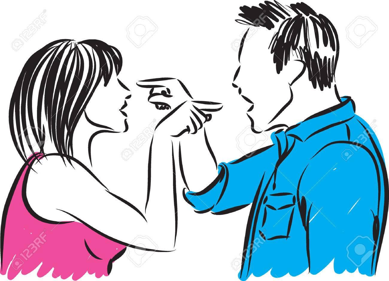 Pareja Hombre Y Una Mujer Discutiendo La Ilustración