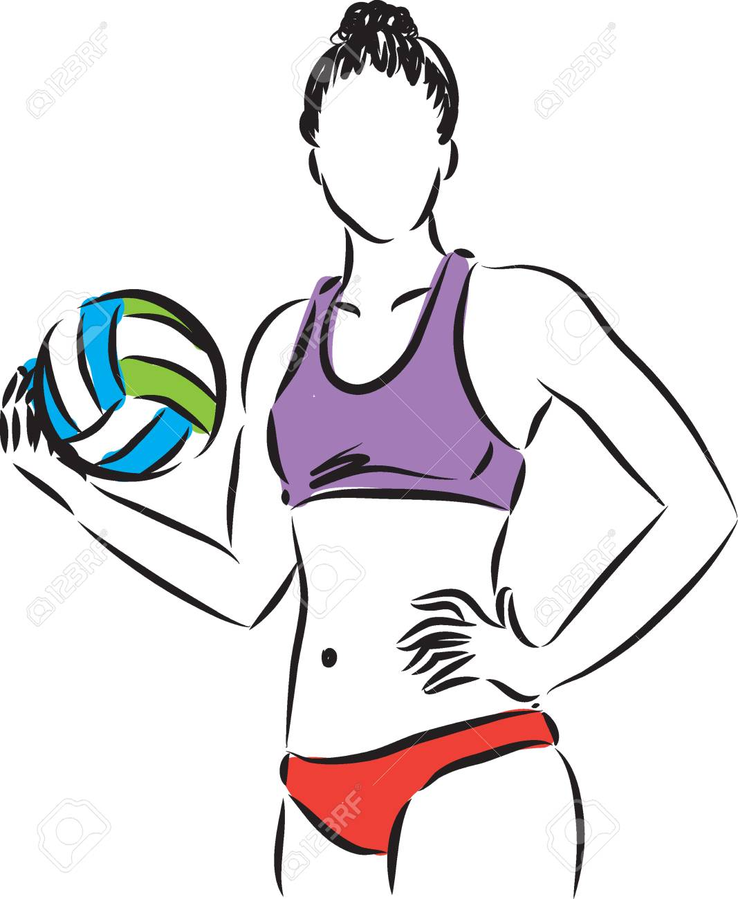 volley beach woman player illustration royalty free cliparts rh 123rf com