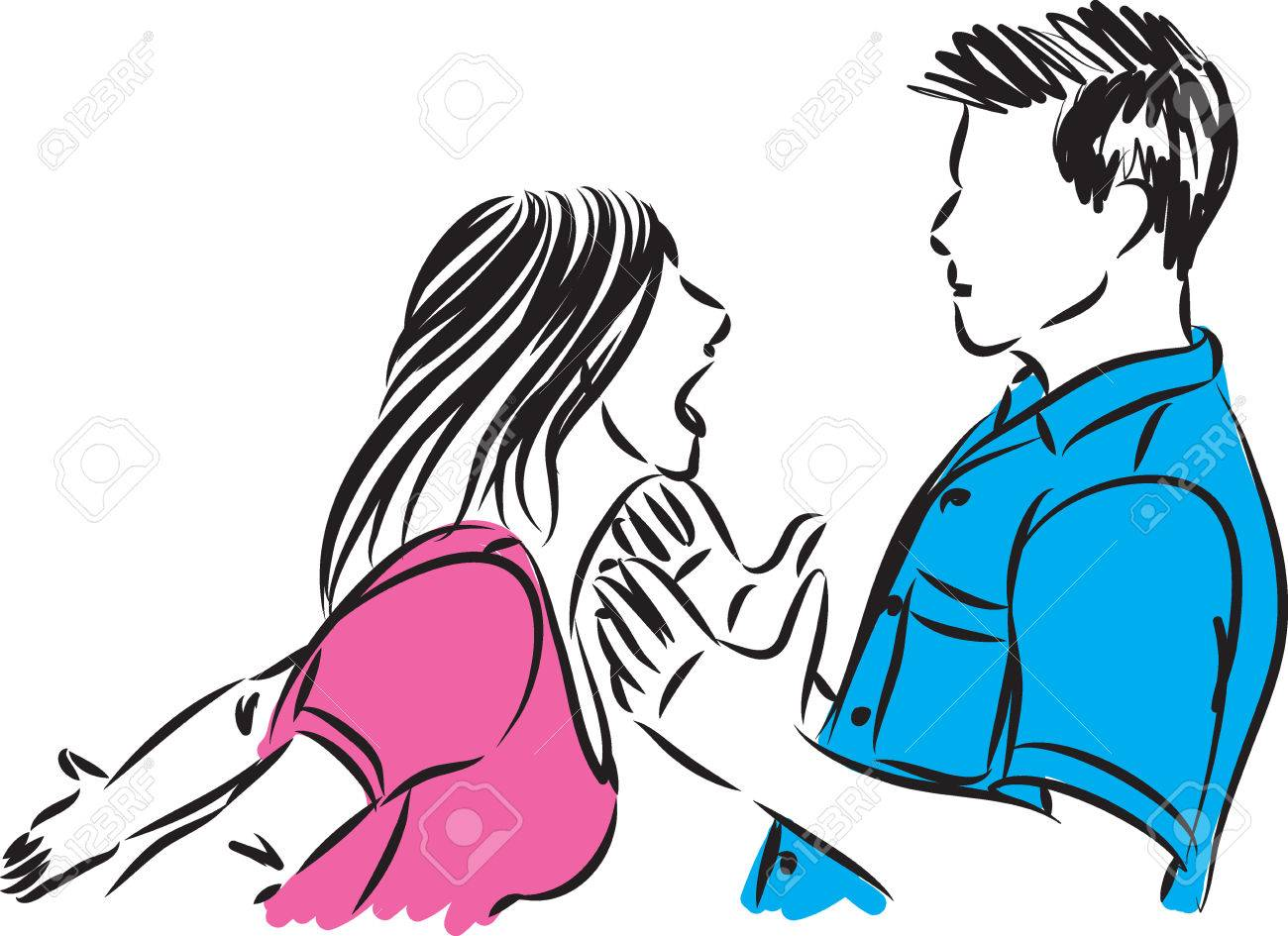 couple man and woman fighting vector illustration - 82447788