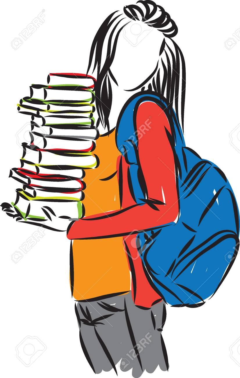 Estudiante adolescente con libros y mochila ilustración vectorial Foto de  archivo - 83989760 60e2a719174