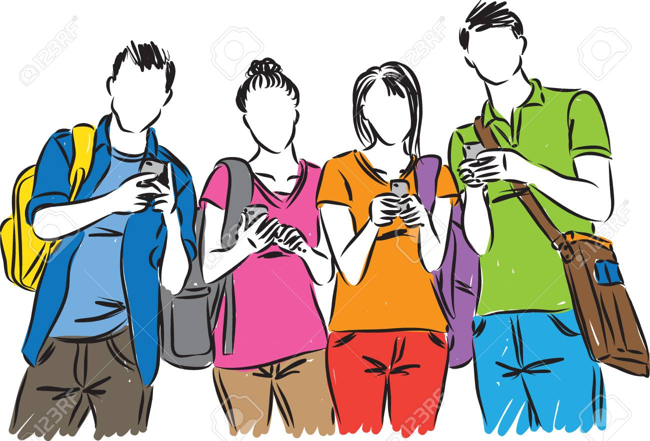 college students with cellphones vector illustration royalty free rh 123rf com college student clip art images college student thinking clipart