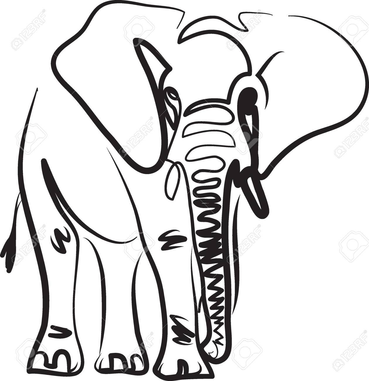 elephant line art vector illustration tattoo - 100342207