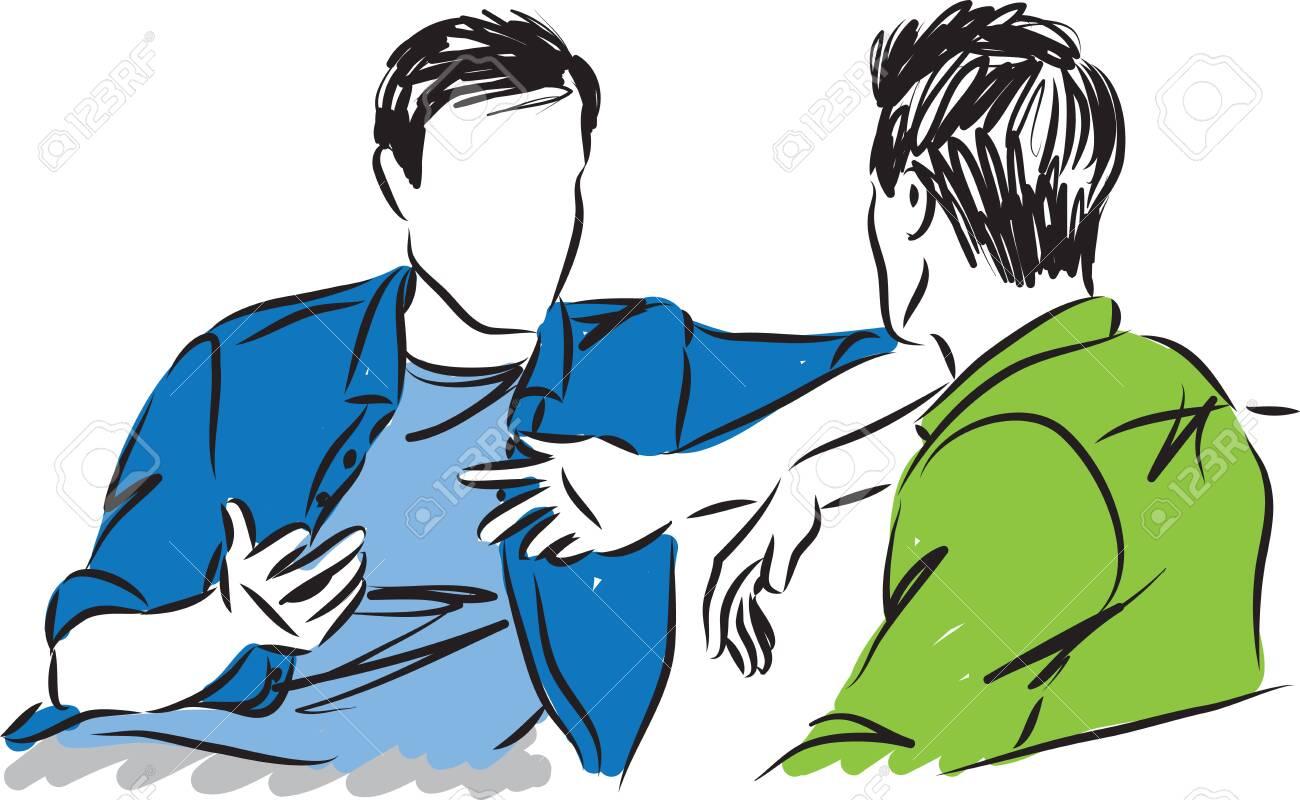 two men talking together vector illustration - 133082683