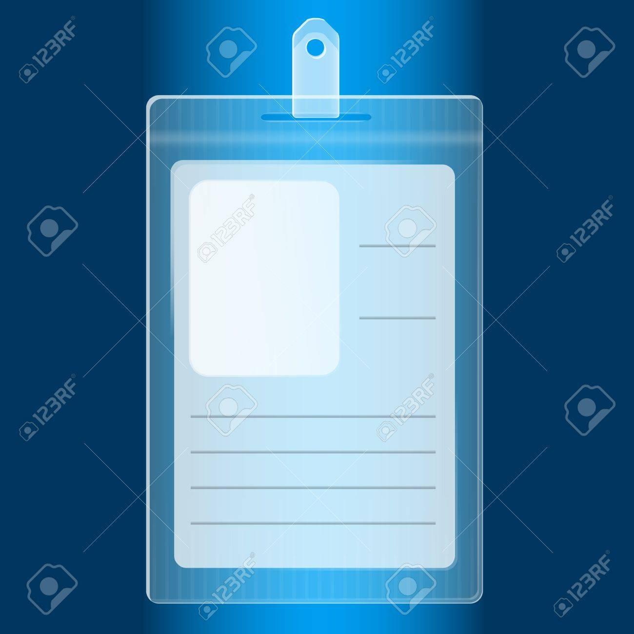 Illustration of empty blue plastic badge - 13543310