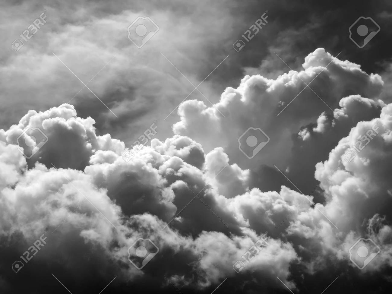 Overcast sky and storm clouds before rain black white style stock photo 31480565