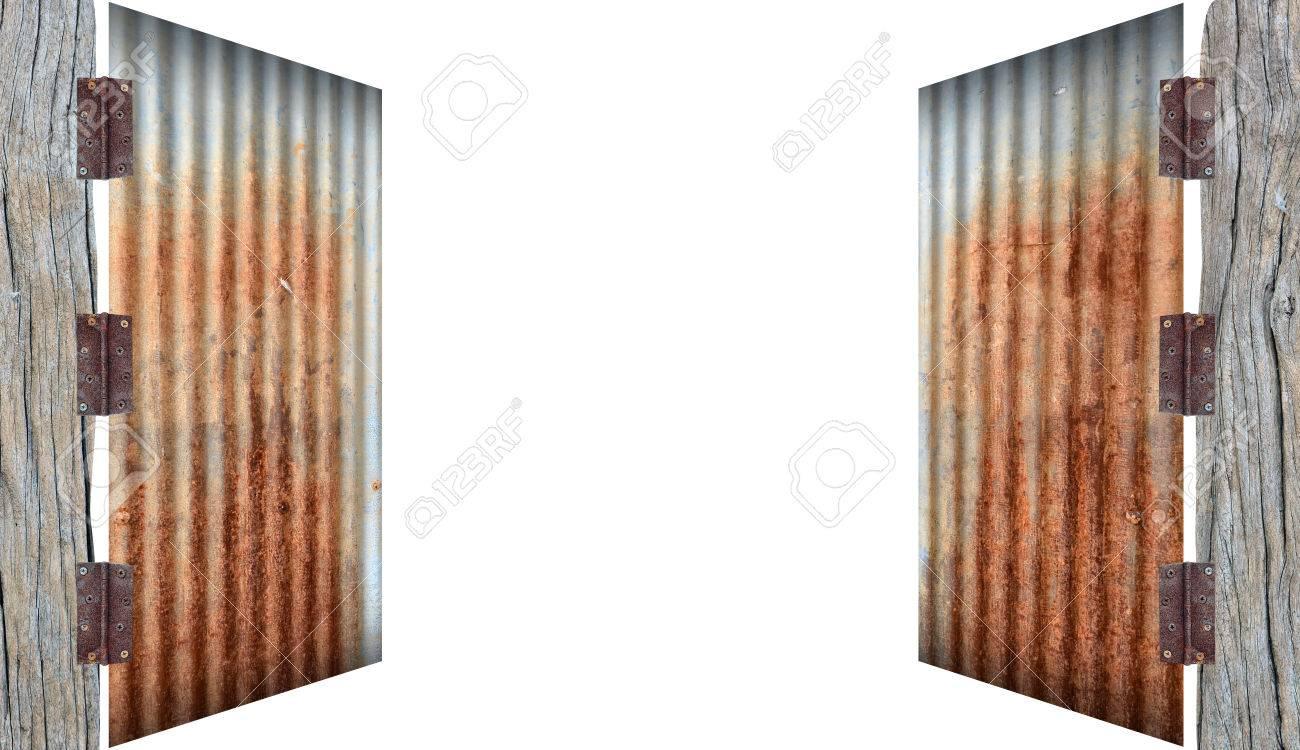 open old zinc doorrusty corrugated iron metal on white background Stock Photo - 34717679 & Open Old Zinc Doorrusty Corrugated Iron Metal On White Background ... pezcame.com