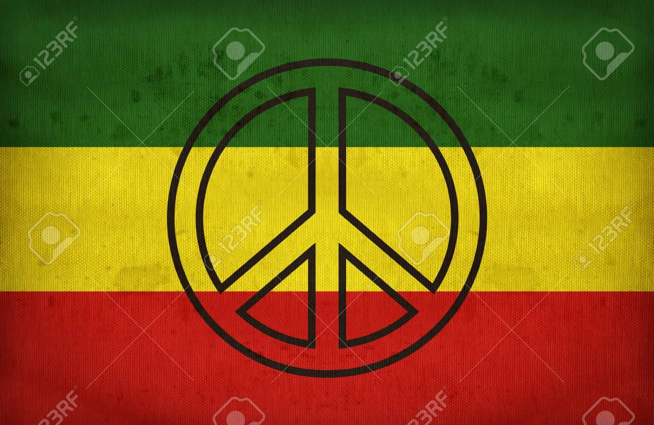 Rasta Flag With A Peace Symbol On Fabric Textureretro Vintage