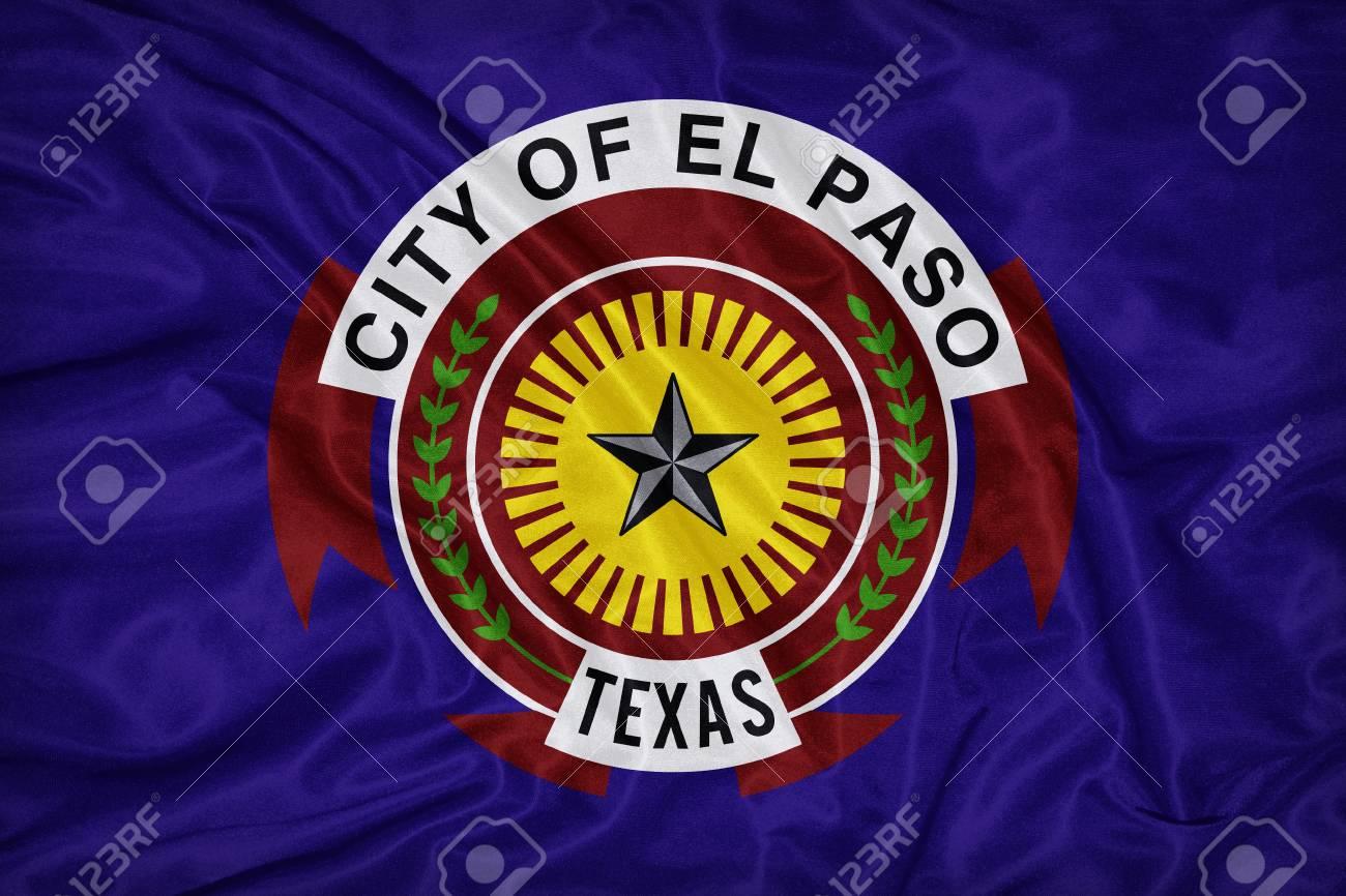 El Paso Texas Flag On Fabric Textureretro Vintage Style Stock