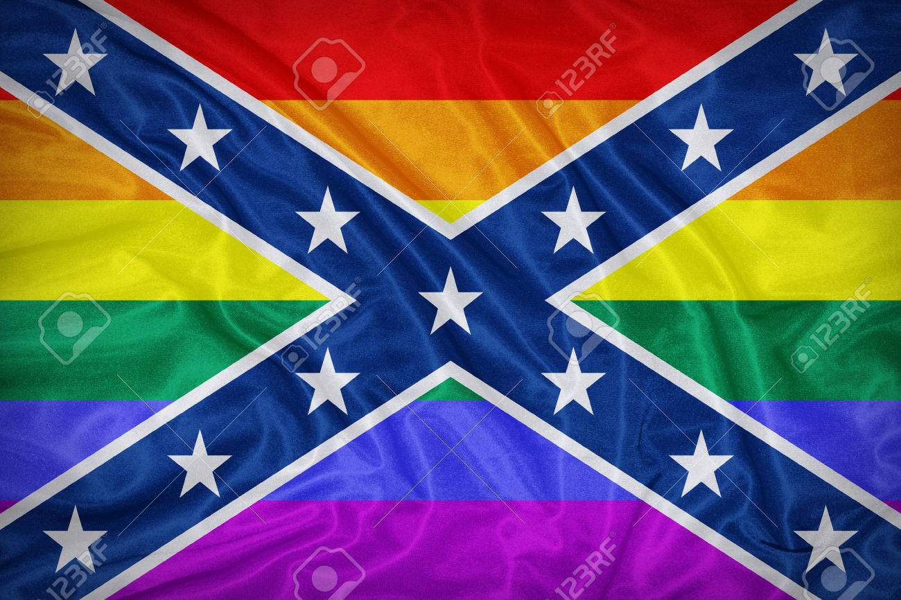 confederate lgbt flag on fabric texture retro vintage style stock