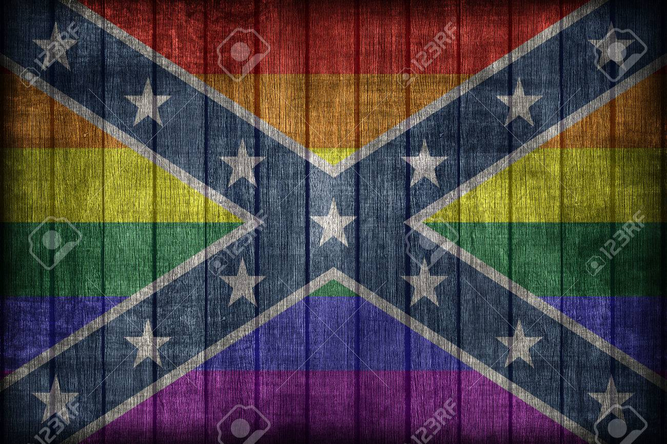 confederate lgbt flag pattern on wooden board texture retro stock