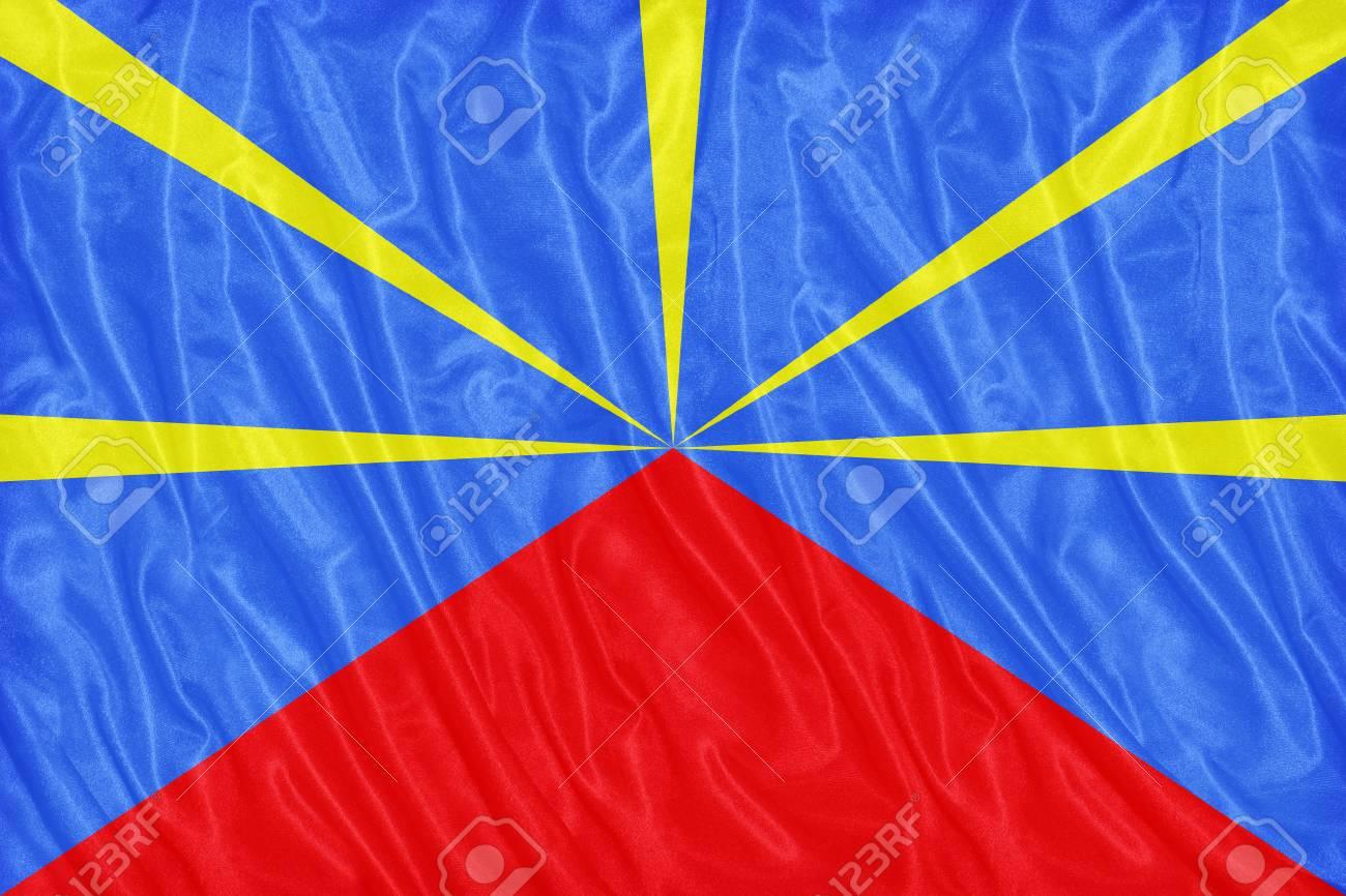 Tissu De La Reunion proposition du modèle de drapeau de l'association vexillological of reunion  sur la texture du tissu, style vintage
