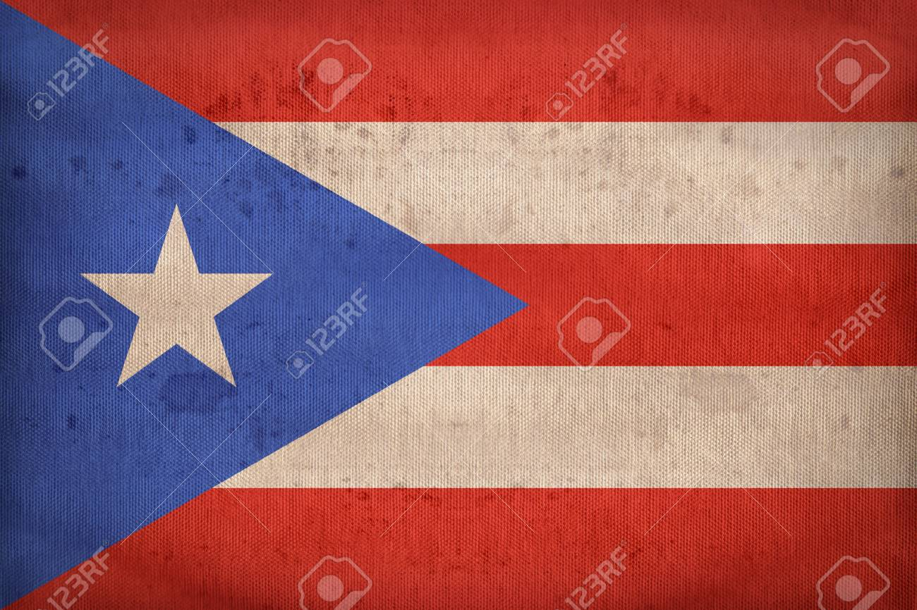 Puerto Rico Flag Pattern On Fabric Texture Retro Vintage Style