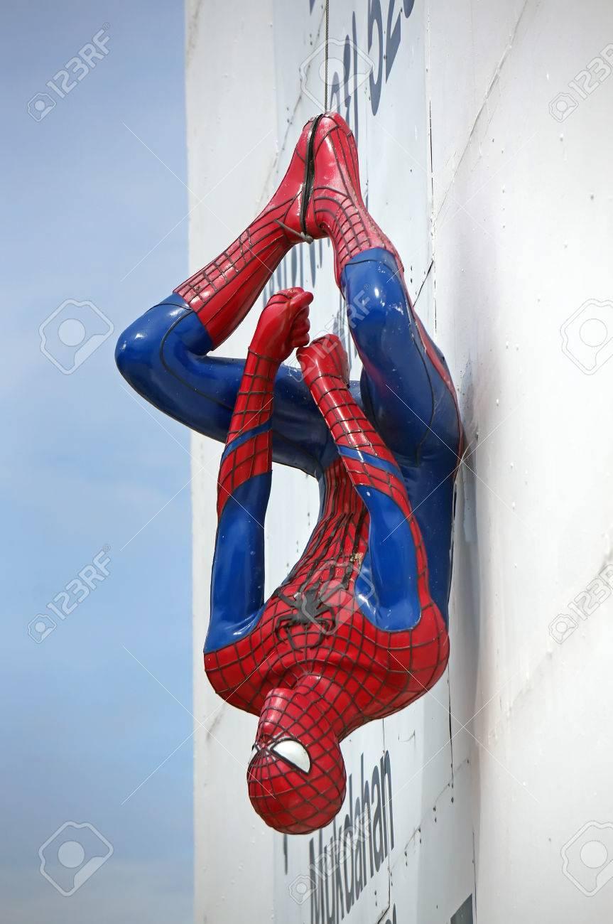 ayuttaya thailand october 10 2015 spider man model upside