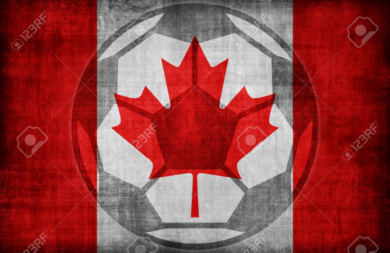 Fußball-Symbol Auf Kanada Flaggenmuster, Retro-Vintage-Stil ...