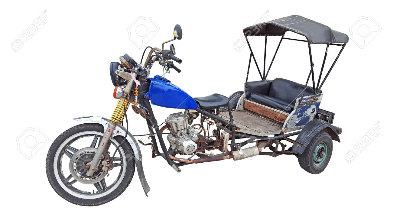 Old Motor Tricycle In Thailand On White Background Stock Photo Picture And Royalty Free Image Image 108970844