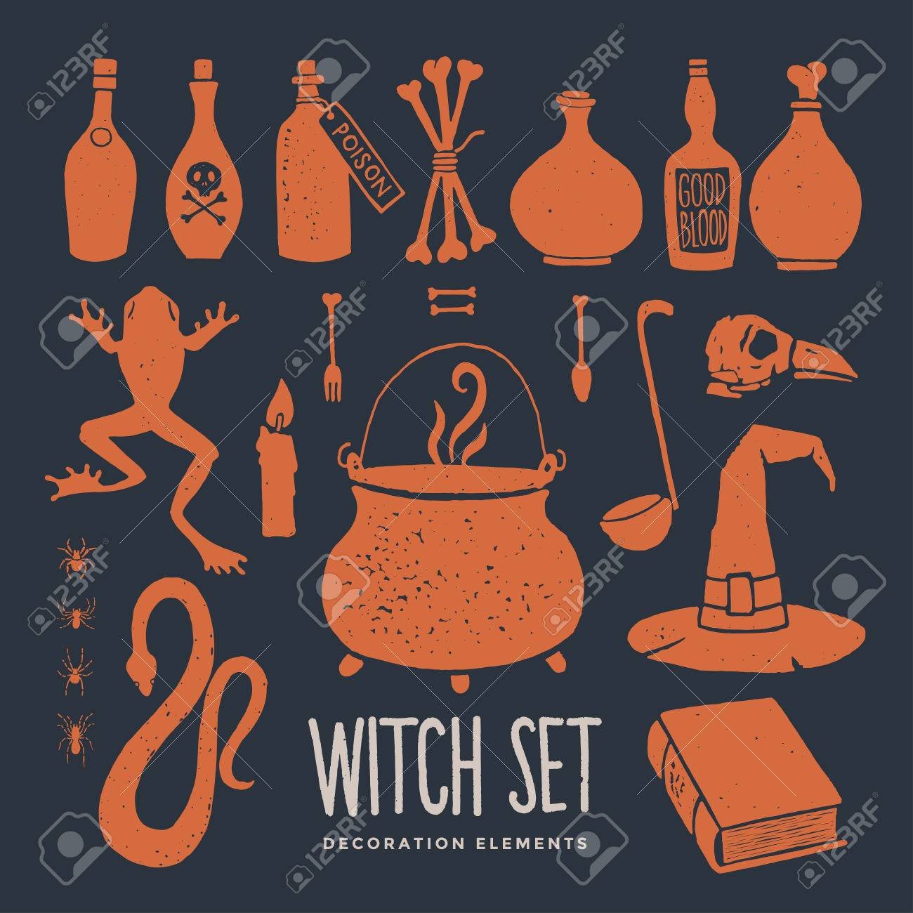 halloween witch objects witchcraft and magic set of decorative