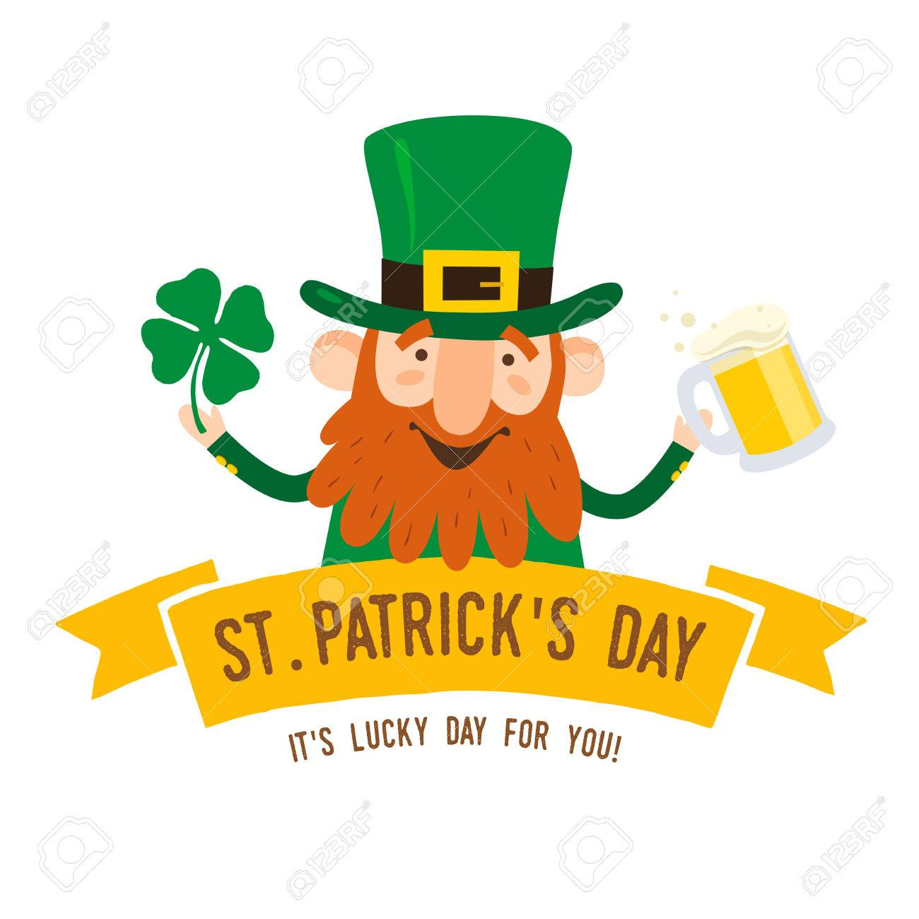 Saint Patricks Day Funny Leprechaun With Leaf Clover And Pint