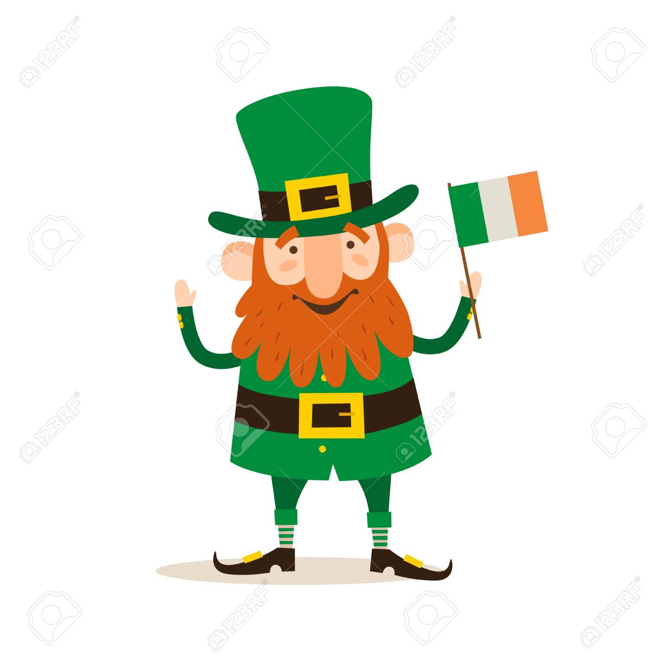 Saint Patricks Day Funny Leprechaun With A Flag Of Ireland