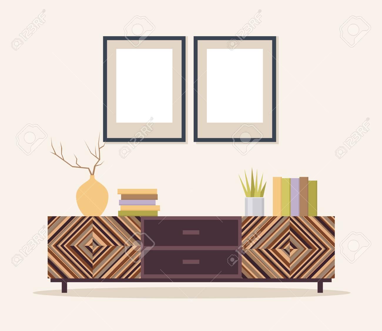 Illustration d\'un salon moderne avec armoire et peintures Intérieur avec  mobilier classique. Design plat, style minimaliste. Illustrateur de vecteur.