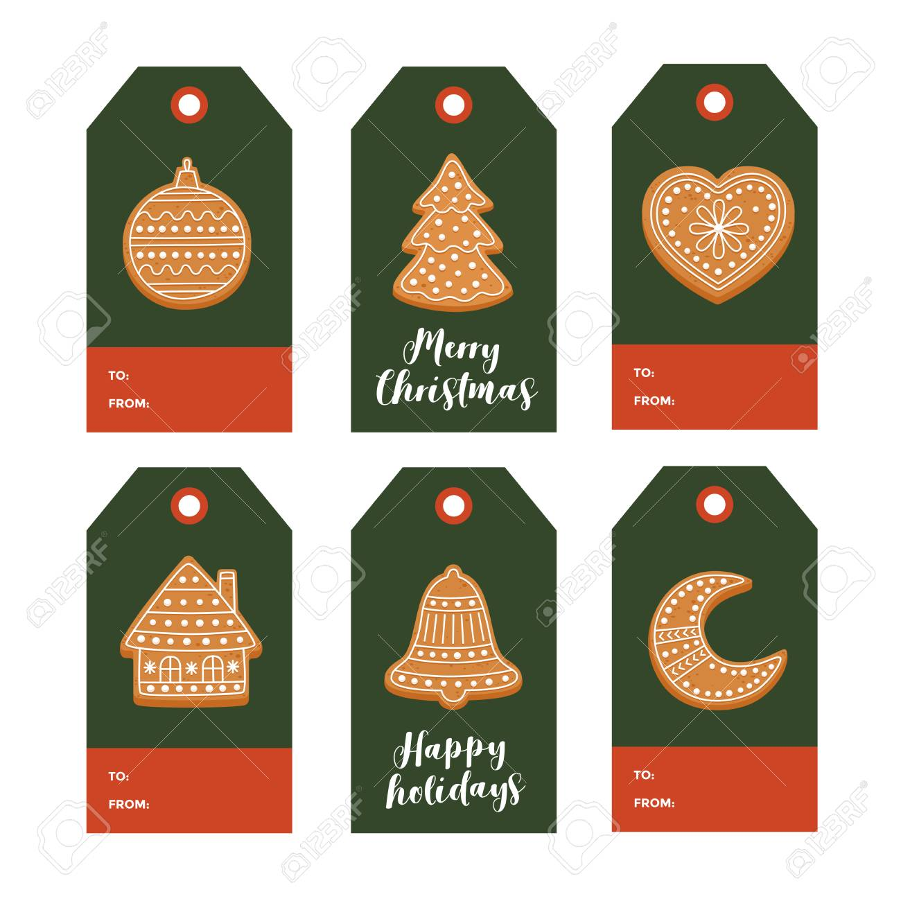 Set Of Christmas Gift Tags With Christmas Gingerbread And Festive Royalty Free Cliparts Vectors And Stock Illustration Image 89366418