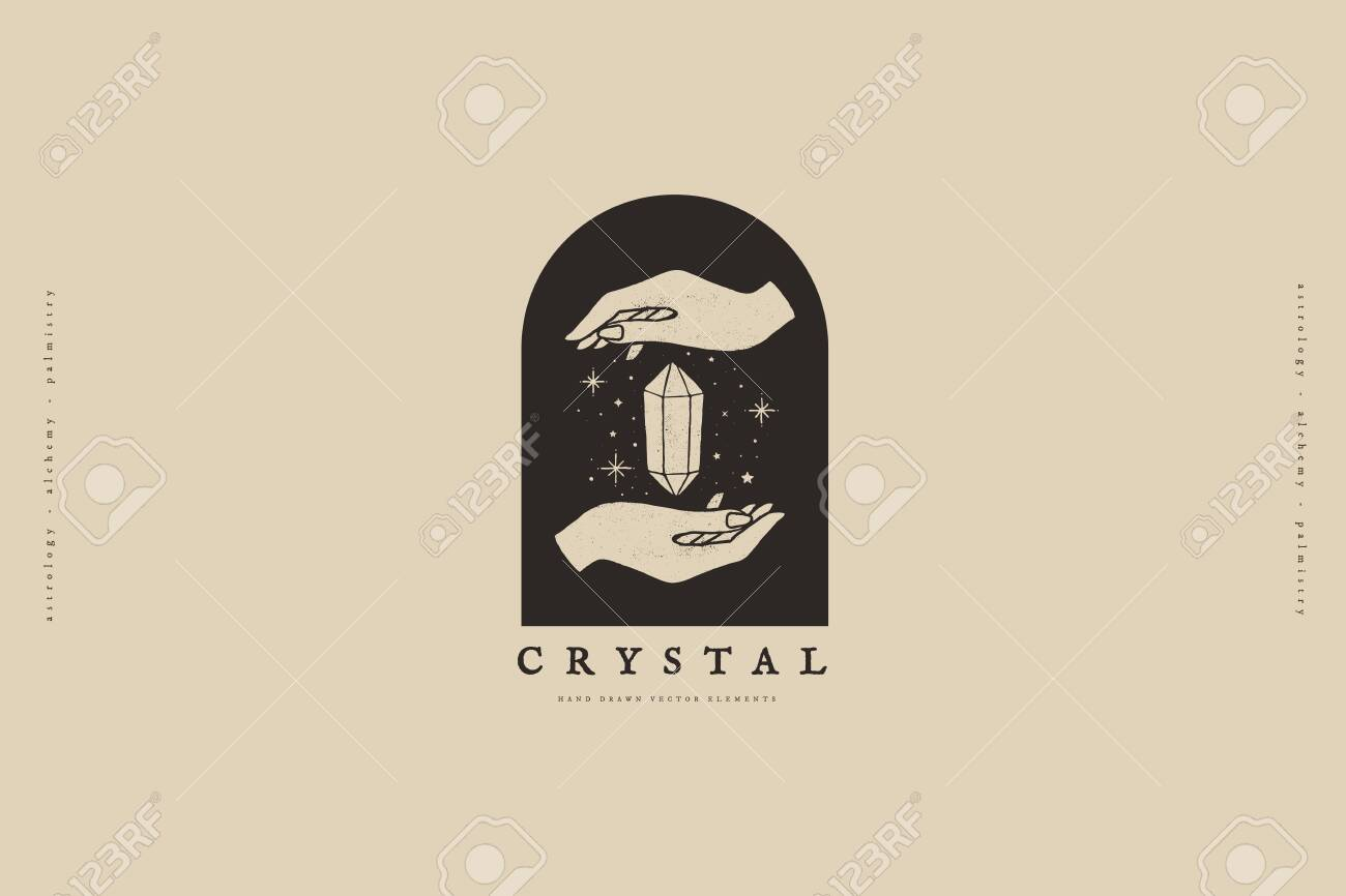 template with hands and crystal vector illustration. Magic quartz stone sparkles and soars. Mystical retro symbols for spiritual practices of ethnic magic and astrological rites. - 149452454