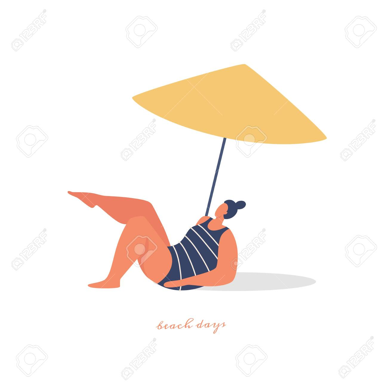 Young beautiful woman sunbathes under a beach umbrella. Plump girl is resting and spending leisure time in the fresh air. Vector images in trendy flat style. - 149452455
