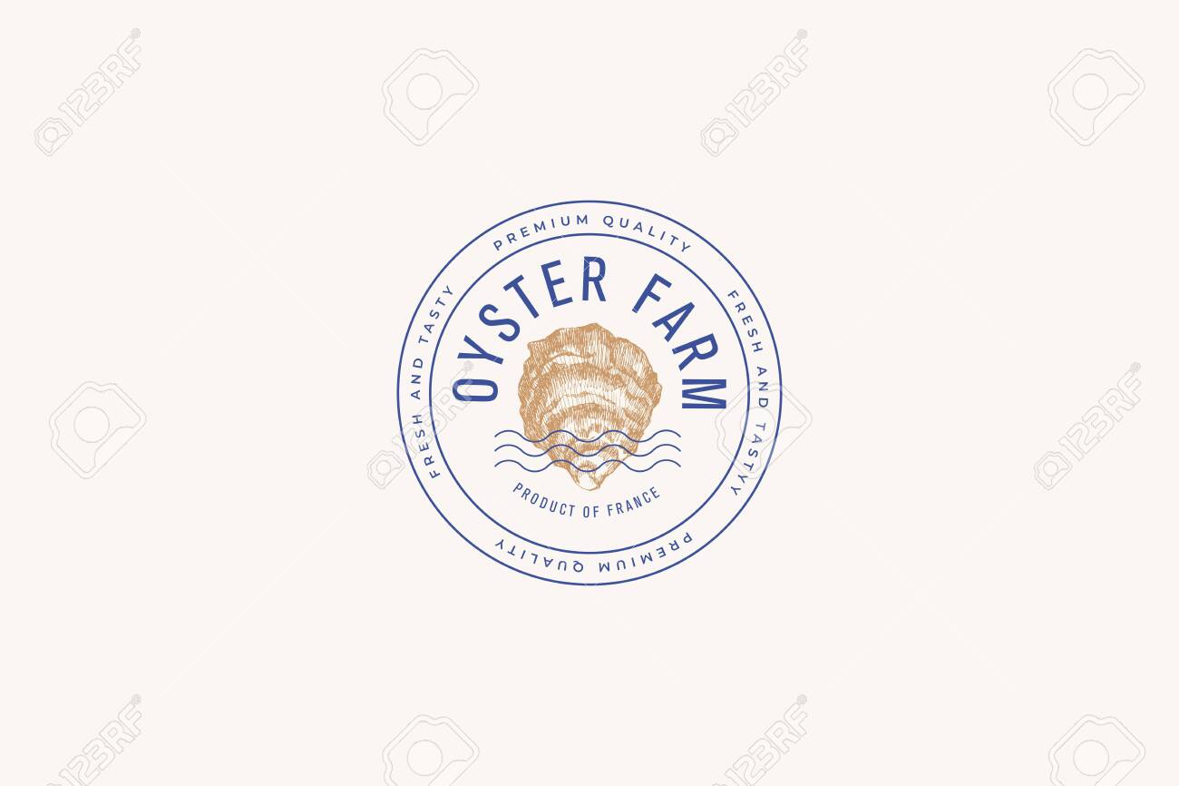 Hand-drawn mussel shell vector illustration. print template for a menu of a fish restaurant, market, seafood store. Delicacy emblem in the engraving style on a light background. - 149452472