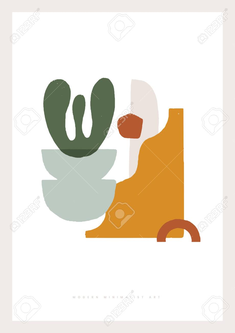 Minimalist shapes in pastel colors. Fashionable composition of abstract shapes vector illustration. Modern art for home decor, greeting cards, invitation. Design element for poster, cover, brochure. - 149154662