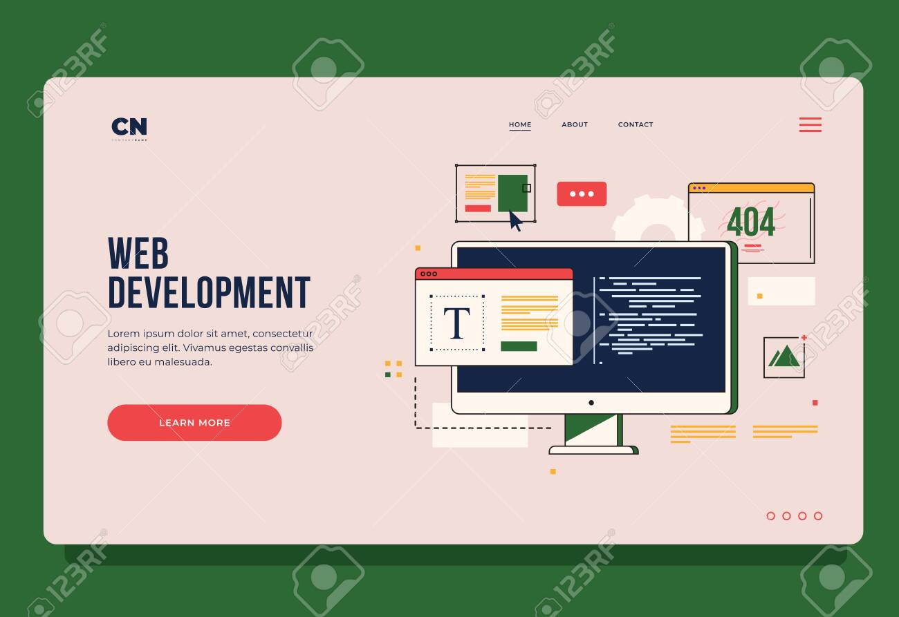 Concept of web development, programming, coding and web design. Header for website. Homepage. Elements of interface and browser windows on monitor screen. Innovations and technologies. - 149452494