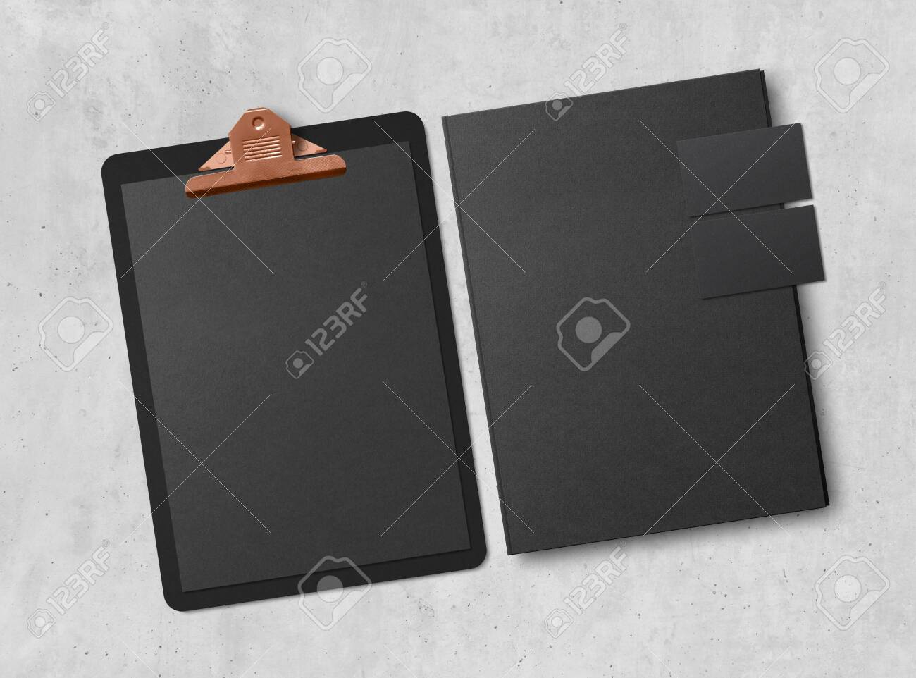 Mock-up. Clipboard with sheets of paper, business cards and folder on concrete background. Template for branding identity. Blank objects for placing your design. 3d illustration. - 149197965