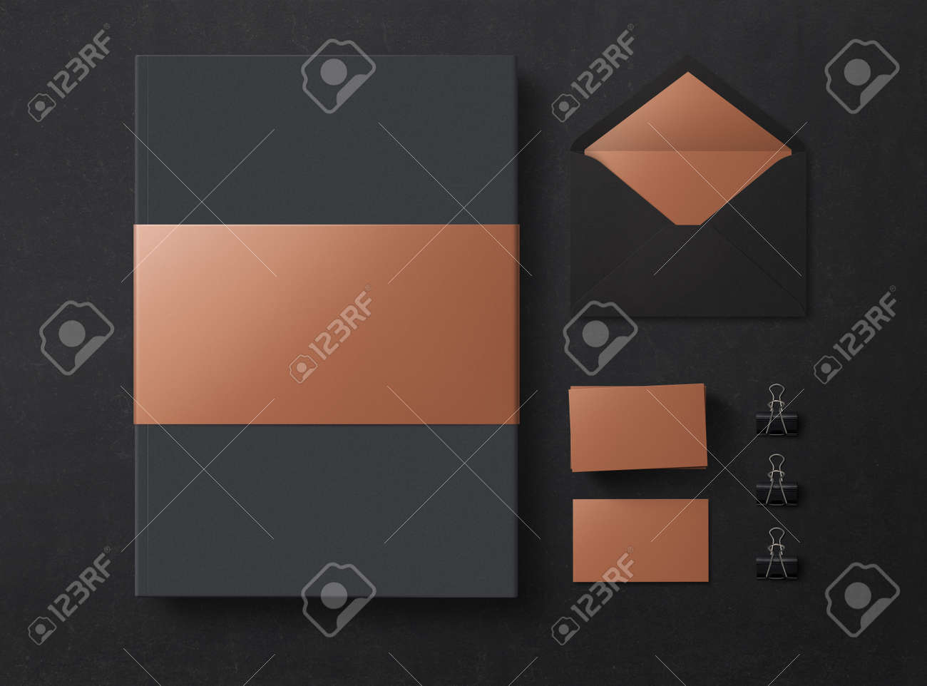 Mock up. Set of mock up elements on black background. Empty objects to place your design. Flat lay. Top view. 3D illustration. - 150177817