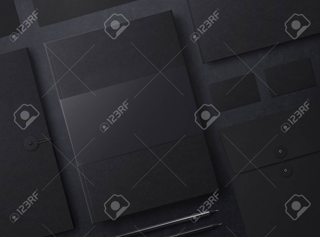 Set of mock up elements on black background. Template for branding identity. Blank objects for placing your design. 3d illustration. - 149594250