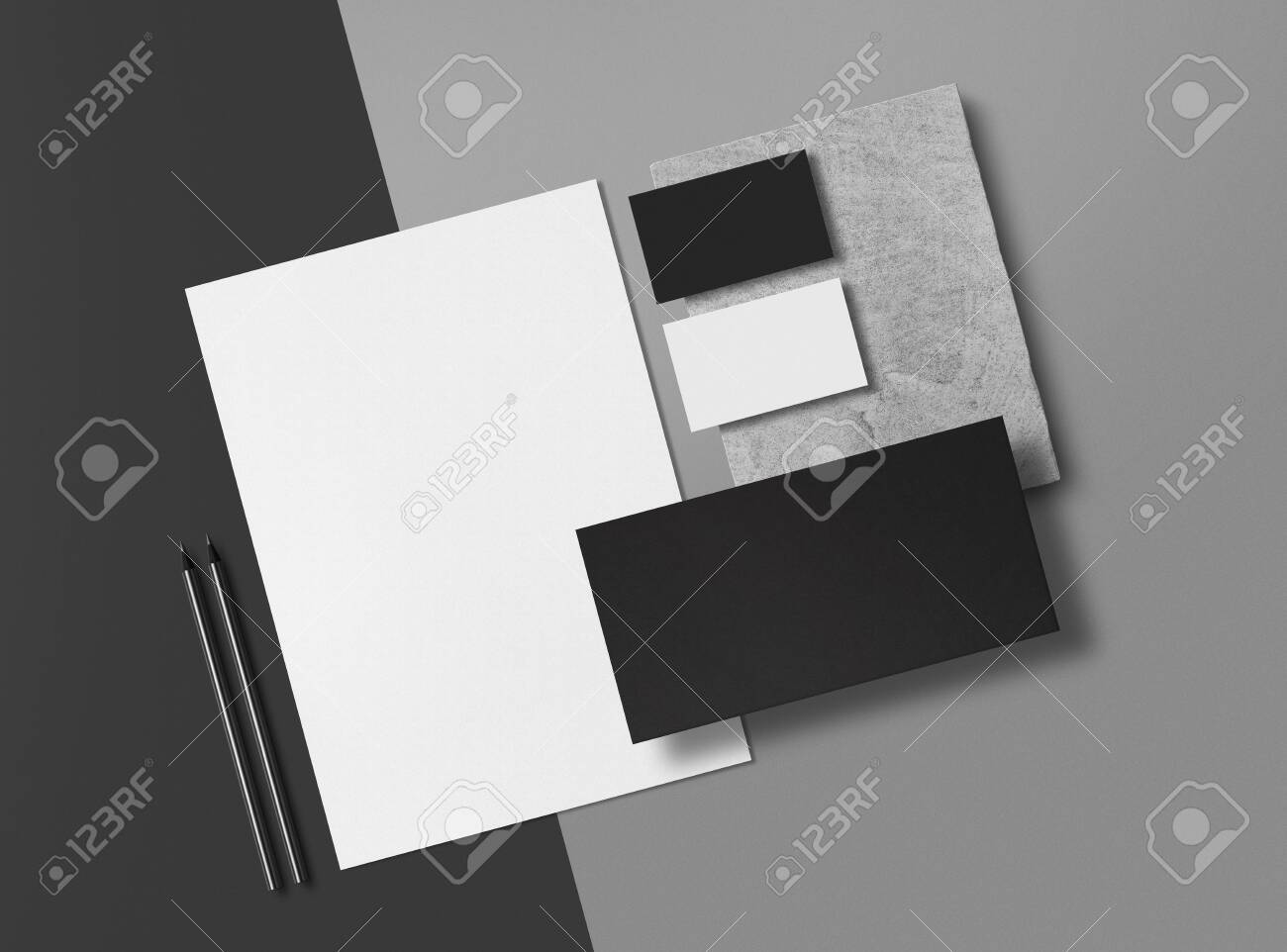 Corporate Identity Branding Mock Up. Set of elements on a gray background. Blank objects for placing your design. 3d illustration. - 150177828