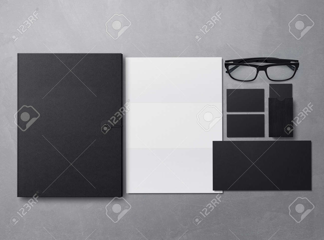 Corporate Identity Branding Mock Up. Set of elements on a gray background. Blank objects for placing your design. 3d illustration. - 149685022