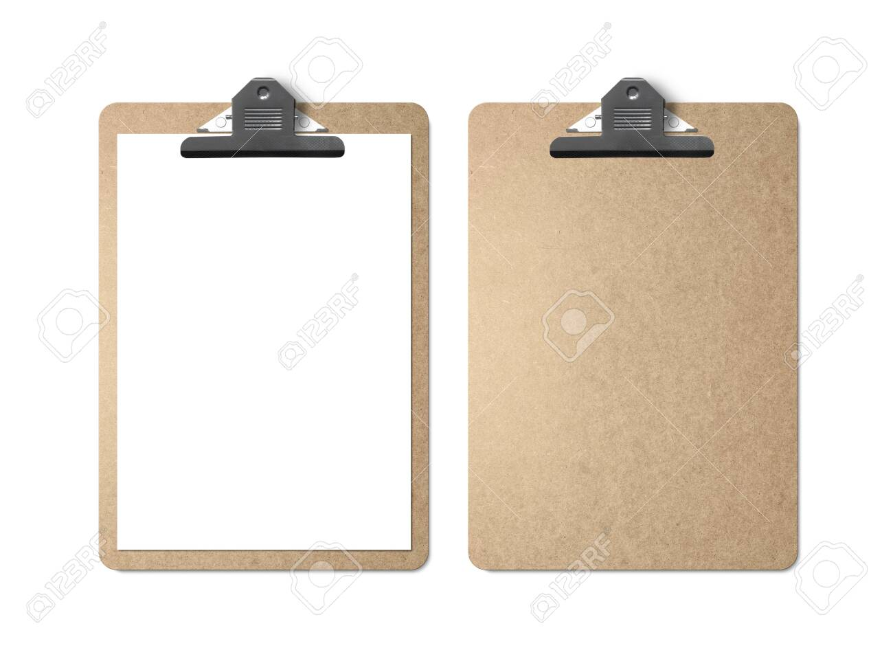 Realistic mockup. Clipboard with sheets of paper on white background. Template for branding identity. Blank objects for placing your design. - 149683947