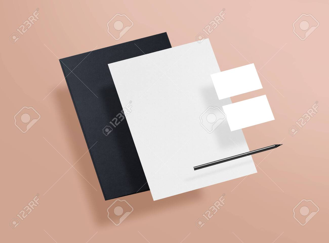 Mock up. Template for branding identity. Blank objects for placing your design. Sheet of paper, business cards and folder. 3d illustration. - 150177836